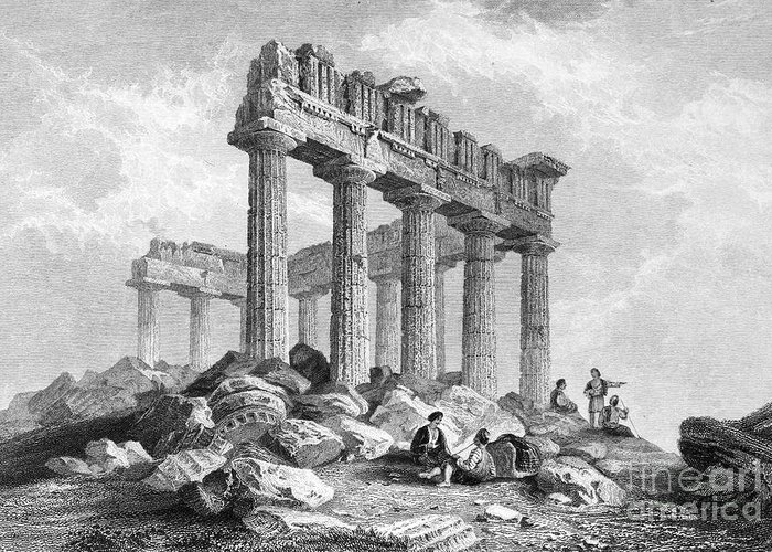 1833 Greeting Card featuring the photograph Greece: The Parthenon 1833 by Granger