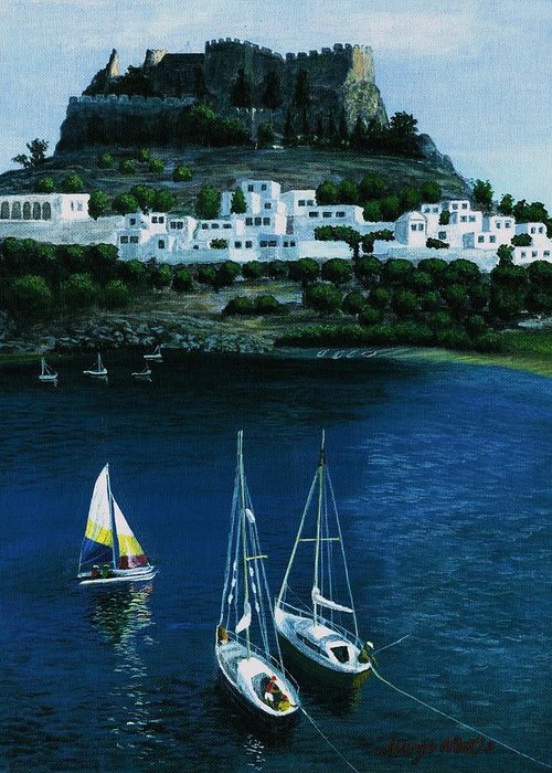 Landscape Greeting Card featuring the painting Greek Isles - Rodos by Rita Hiotis