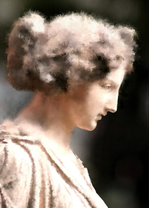 Nature Greeting Card featuring the digital art Greek Woman by Ilias Athanasopoulos
