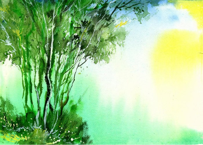 Nature Greeting Card featuring the painting Green 1 by Anil Nene