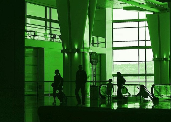 Green Greeting Card featuring the photograph Green Airport by Ron Morales