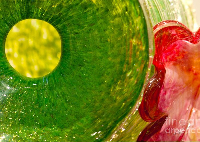Art Glass Greeting Card featuring the photograph Green And Red by Artist and Photographer Laura Wrede
