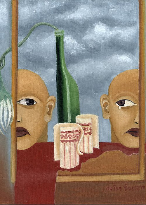 Green Greeting Card featuring the painting Green Bottle Agony Surrealistic Artwork With Crying Heads Cut Cups Flowing Red Wine Or Blood Frame  by Rachel Hershkovitz