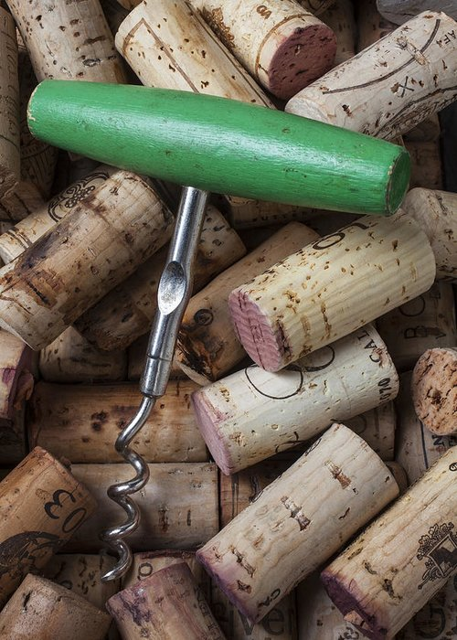 Wine Greeting Card featuring the photograph Green Corkscrew by Garry Gay