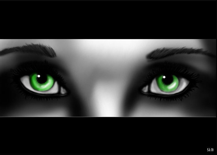 Hope Greeting Card featuring the painting Green Eyes by Sandra Geis