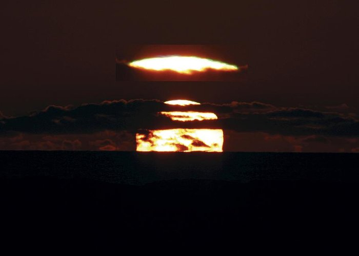 Sun Greeting Card featuring the photograph Green Flash At Sunset by Laurent Laveder