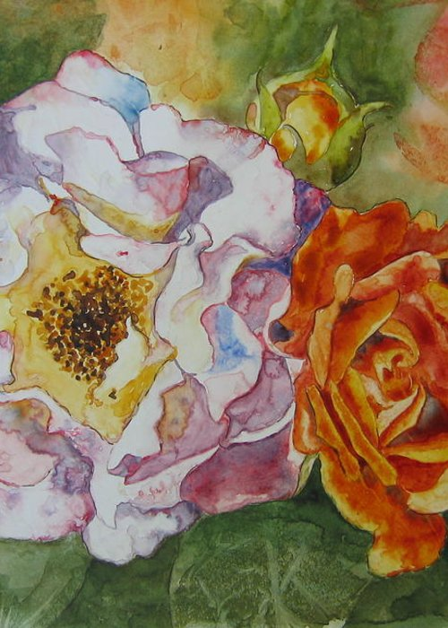Close Focus Floral Greeting Card featuring the painting Green Ice by Patsy Sharpe