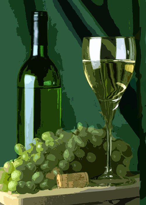 Wine Greeting Card featuring the painting Green Is White by Elaine Plesser