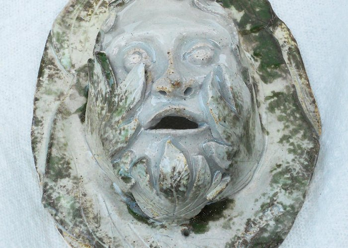 Green Man Mar 2012 Ceramic Sculpture Clay Greeting Card featuring the sculpture Green Man 3 by John Keasler