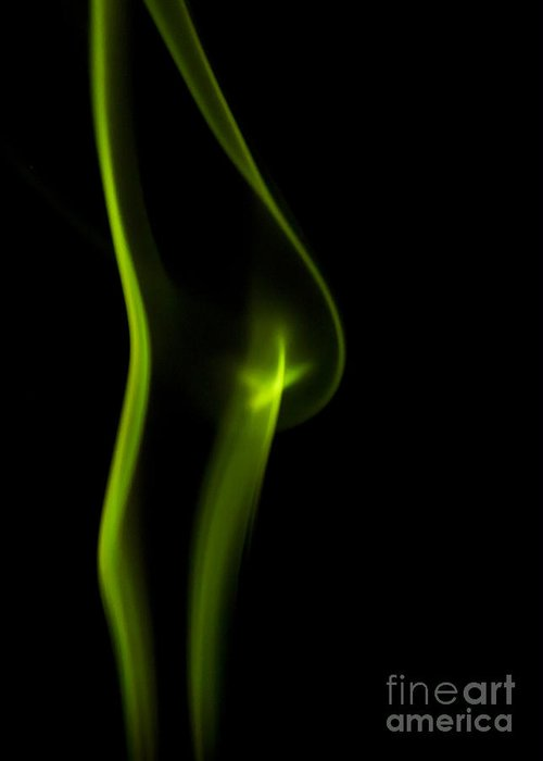 Abstract Greeting Card featuring the photograph Green Neon Smoke by Darcy Michaelchuk