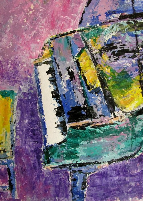 Music Greeting Card featuring the painting Green Piano Side View by Anita Burgermeister