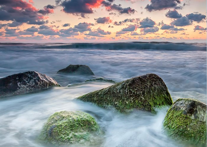 Black Sea Greeting Card featuring the photograph Green Stones by Evgeni Dinev