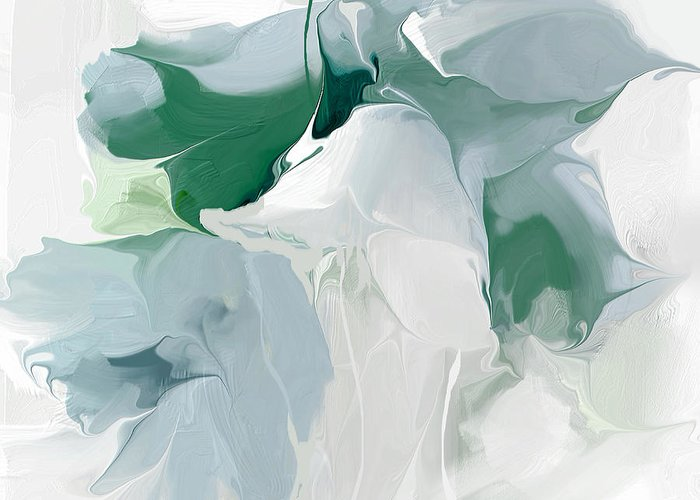 Abstract Greeting Card featuring the painting Greenpeace Lily by Davina Nicholas