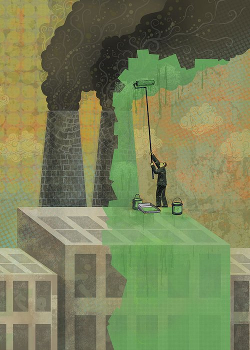 Greeting Card featuring the digital art Greenwashing by Dennis Wunsch