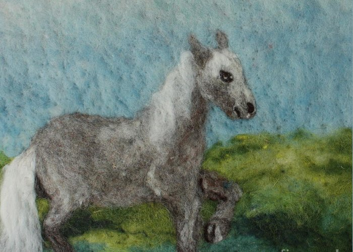 Needle Greeting Card featuring the tapestry - textile Grey Horse by Nicole Besack