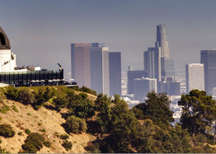 Griffith Greeting Card featuring the photograph Griffith And Los Angeles by Ricky Barnard