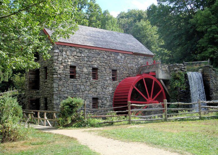 Grist Mill Greeting Card featuring the photograph Grist Mill Massachusetts by Patricia Urato