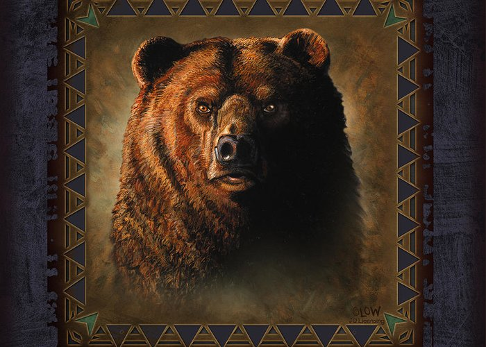 Wildlife Greeting Card featuring the painting Grizzly Lodge by JQ Licensing