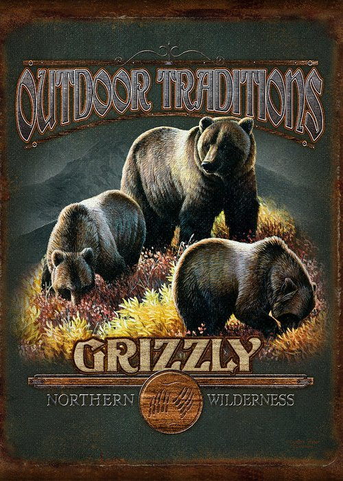 Cynthie Fisher Greeting Card featuring the painting Grizzly Traditions by JQ Licensing