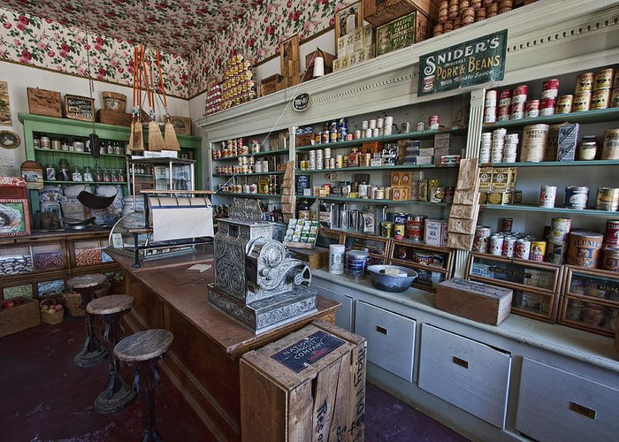 general Store Greeting Card featuring the photograph Grocery Store Of Yesteryear - Virginia City Montana Ghost Town by Daniel Hagerman