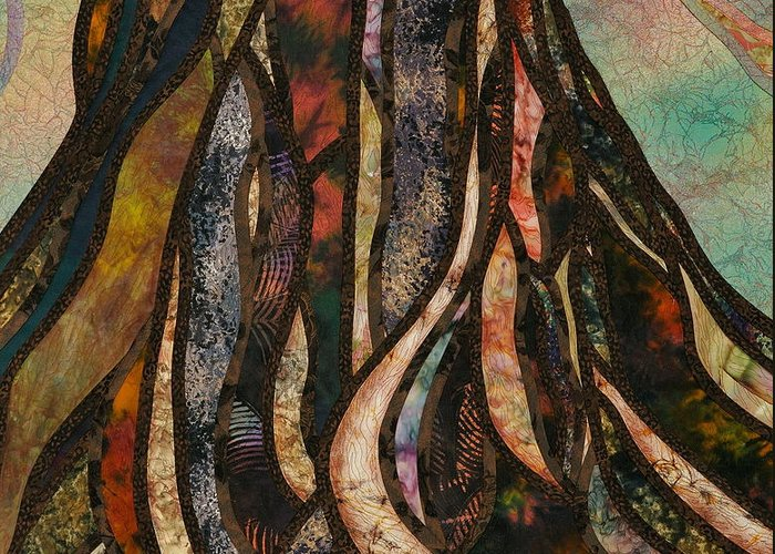 Tree Greeting Card featuring the tapestry - textile Grounded by Doria Goocher