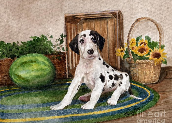 Great Dane Greeting Card featuring the painting Growing Fast by Nancy Patterson