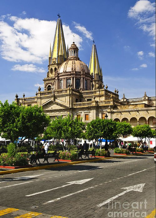 Guadalajara Greeting Card featuring the photograph Guadalajara Cathedral by Elena Elisseeva