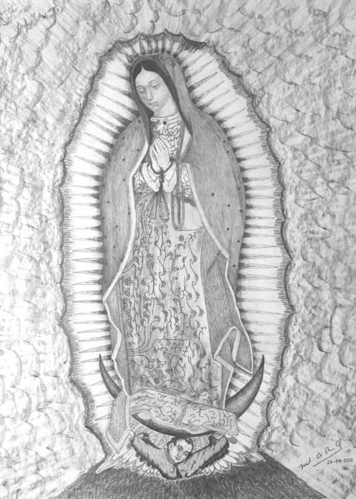 Lady Greeting Card featuring the drawing Guadalupe by Miguel Rodriguez