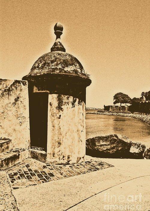 El Morro Greeting Card featuring the digital art Guard Post Castillo San Felipe Del Morro San Juan Puerto Rico Rustic by Shawn O'Brien
