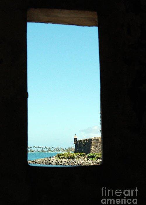 El Morro Greeting Card featuring the photograph Guard Tower View Castillo San Felipe Del Morro San Juan Puerto Rico by Shawn O'Brien