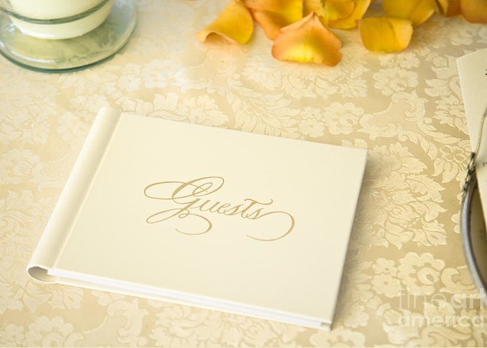 Attendees Greeting Card featuring the photograph Guestbook On A Table by Ned Frisk
