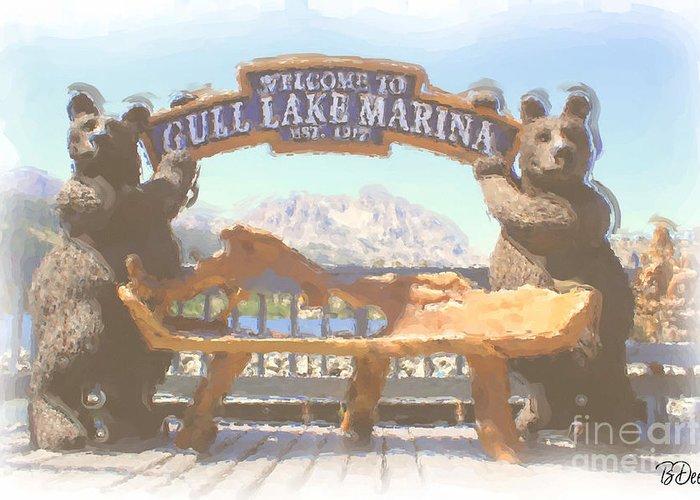 Gull Lake Greeting Card featuring the photograph Gull Lake Marina by Brenda Deem