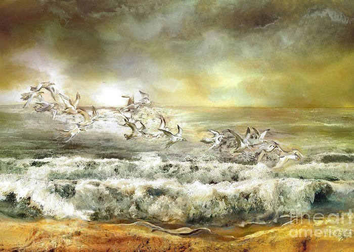 Waves Greeting Card featuring the painting Gulls On The Sea by Anne Weirich