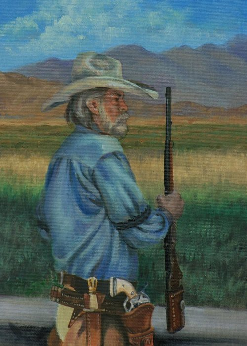 Cowboy Greeting Card featuring the painting Guns and Chaps by Linda Eades Blackburn