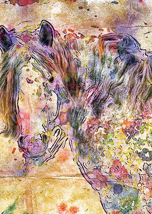 Horses Greeting Card featuring the digital art Gypsy Babe by Marilyn Sholin