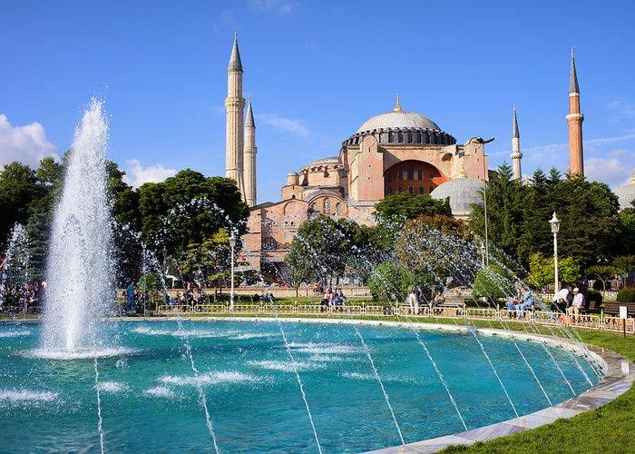 Ayasofya Greeting Card featuring the photograph Hagia Sofia In Istanbul by Artur Bogacki