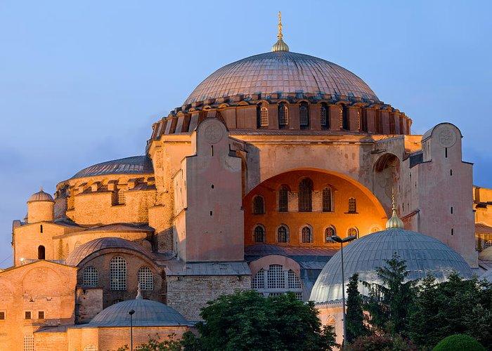 Ayasofya Greeting Card featuring the photograph Hagia Sophia At Dusk by Artur Bogacki