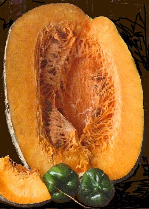Caribbean Greeting Card featuring the photograph Half A Caribbean Pumpkin by Ian MacDonald