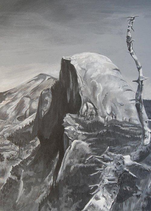 Black And White Painting Greeting Card featuring the painting Half Dome Tree by Travis Day