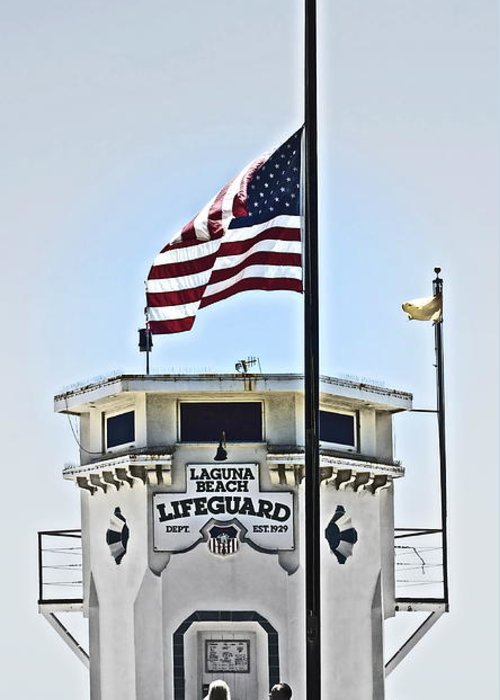 Lifeguard Greeting Card featuring the photograph Half Mast At Laguna Beach by Gwyn Newcombe