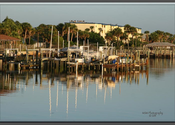 Halifax River Greeting Card featuring the photograph Halifax Boat Dock by Mike Moore