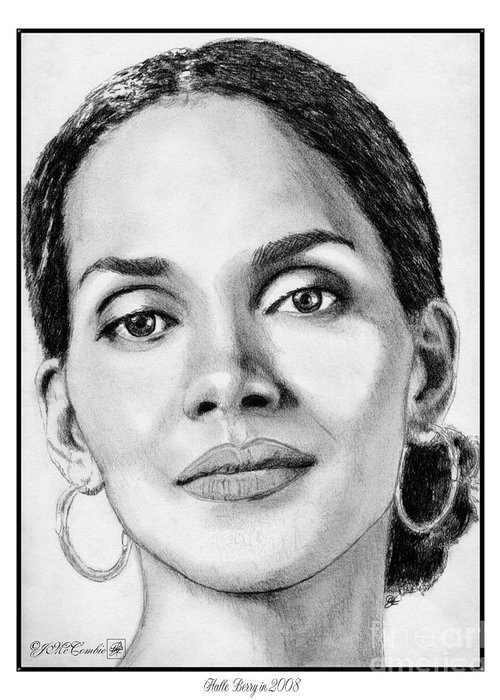 Halle Berry Greeting Card featuring the drawing Halle Berry In 2008 by J McCombie