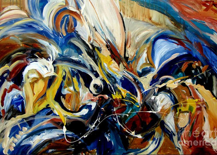 Abstract Expressionism Greeting Card featuring the painting Hallelujah by Leona Brown
