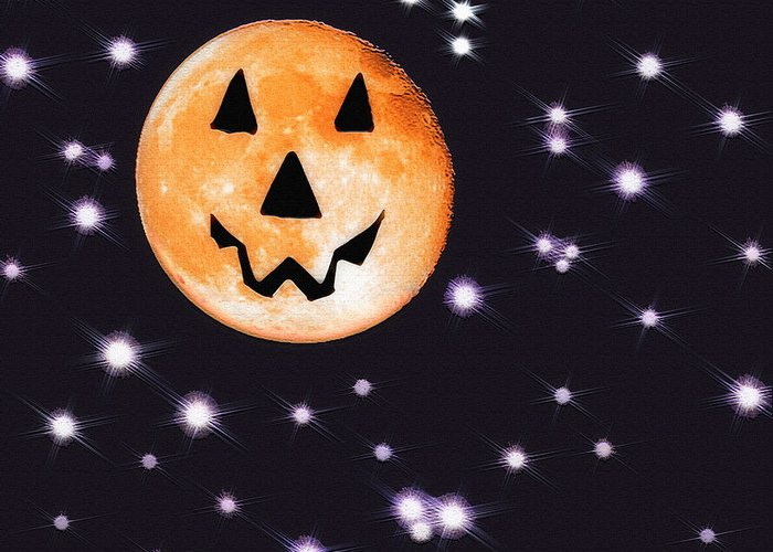 Moon Greeting Card featuring the photograph Halloween Night - Moon And Stars by Steve Ohlsen