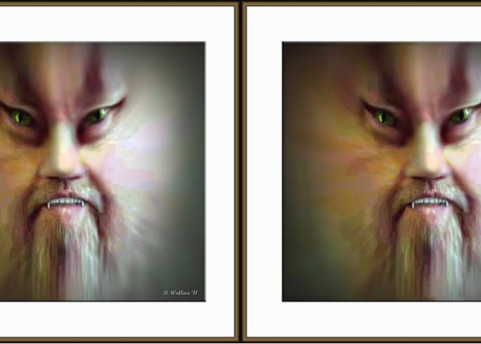 3d Greeting Card featuring the photograph Halloween Self Portrait - Gently Cross Your Eyes And Focus On The Middle Image by Brian Wallace