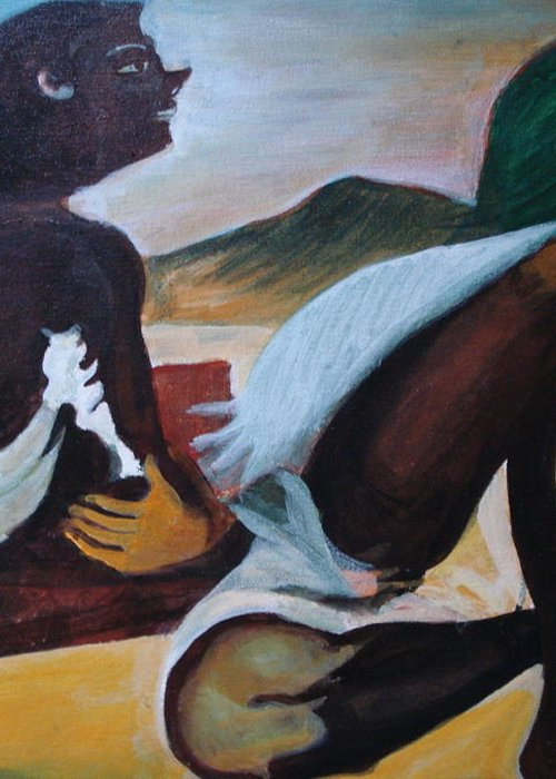 Hills Greeting Card featuring the painting Hallucination by Prasenjit Dhar