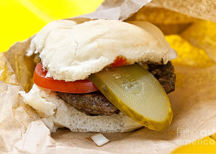 Hamburger Greeting Card featuring the photograph Hamburger With Pickle And Tomato by Elena Elisseeva