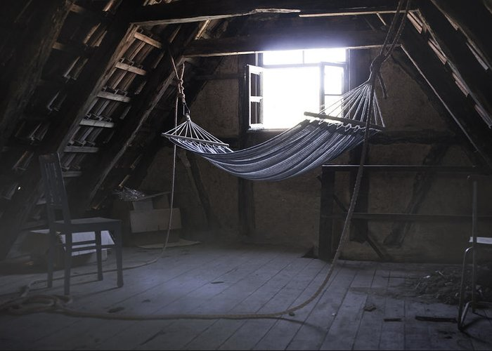Hammock Greeting Card featuring the photograph Hammock In The Attic by Karin Haas