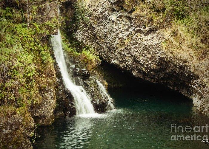 Waterfall Greeting Card featuring the photograph Hana Waterfall by Scott Pellegrin