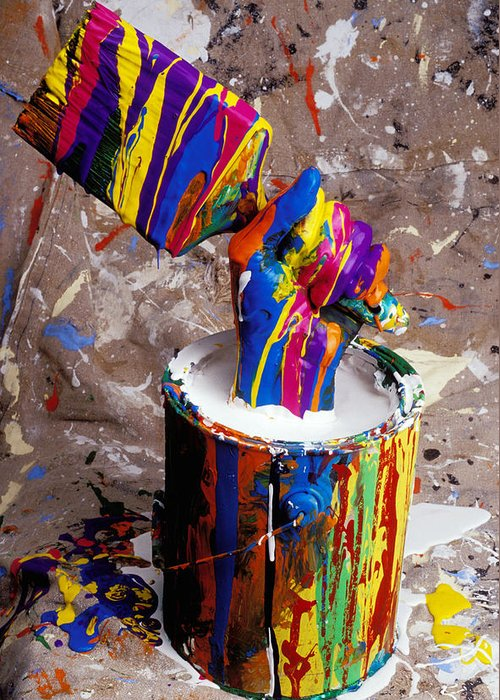 Hand Greeting Card featuring the photograph Hand Coming Out Of Paint Bucket by Garry Gay